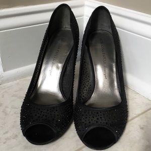ADRIANNA PAPELL black mesh rhinestone heels 9M